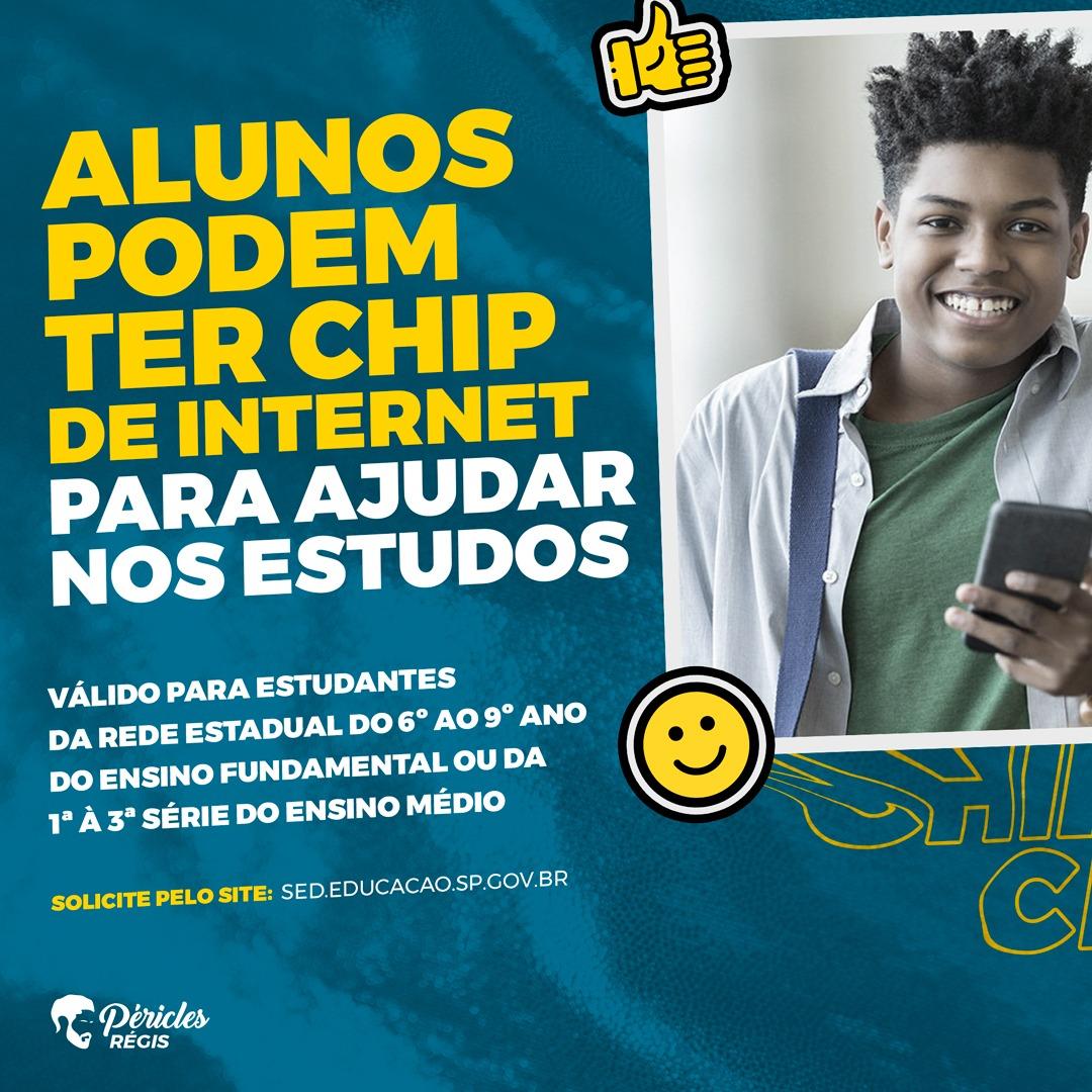 Chip de internet para alunos da rede estadual